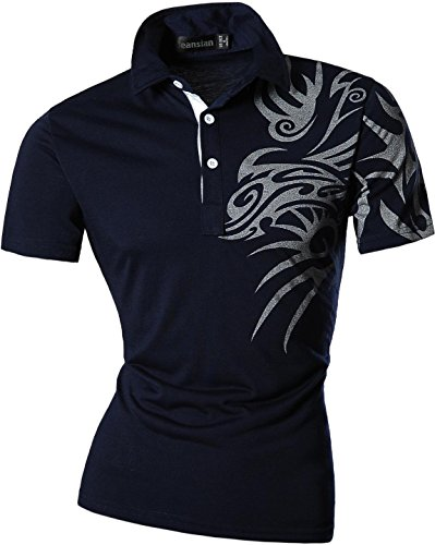 jeansian Herren Freizeit Slim Fit Short Sleeves Casual POLO T-Shirts D403 U010_Navy