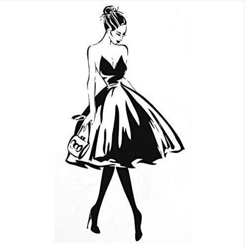 Liwendi Wandtattoo Frau Gesicht Mode Stil Vinyl Wandaufkleber Kleidung Boutique Kostüm Design Wand Poster Schönheitssalon Dekoration 42 * 83 Cm