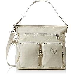 Kipling TASMO, bolsa de medio lado para Mujer, Hueso (Dazz Cream) 31x29x14 cm