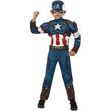 Avengers - Disfraz de Capitán America Deluxe, para niños, talla M (Rubie's 620198-M)