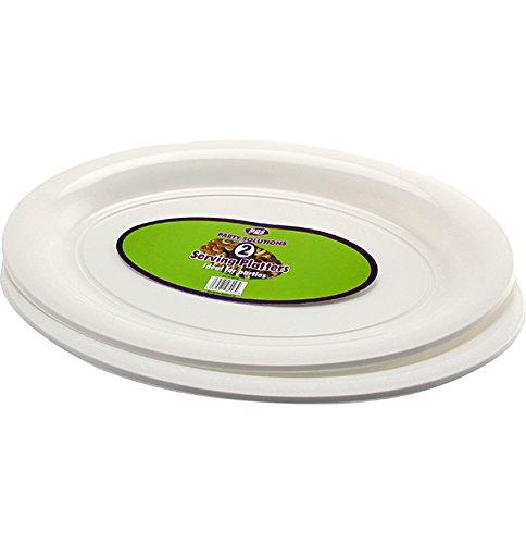 Usa e getta in plastica, 6 pezzi, colore: bianco, vassoio ovale, 40 cm x 28 cm, ideale per la condivisione di consegna gratuita