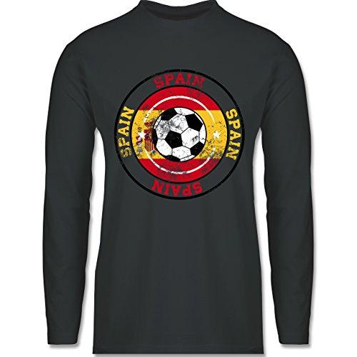 Shirtracer Fußball-WM 2018 - Russland - Spain Kreis & Fußball Vintage - Herren Langarmshirt Dunkelgrau