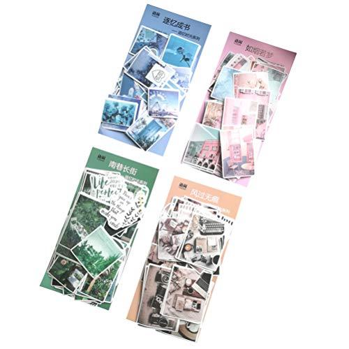 Washi-Papier-Aufkleber-Set (4 Packungen, 240 Stück) Kawaii grün pink blau Serie Dekorationsetikett DIY Dekoration für Scrapbooking Tagebuch Album Kunst Basteln Planer Tagebuch Geschenk Verpackung