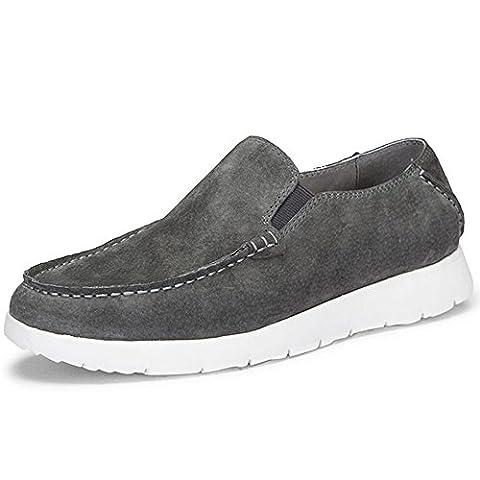 OZZEG En cuir véritable bateau pont plat masculine chaussures mocassins (40.5, gris)