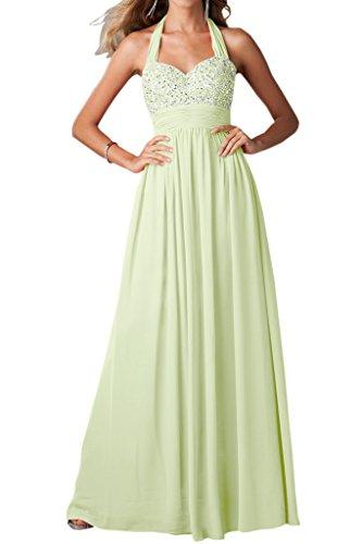 Ivydressing Damen Neckholder A-Linie Ballkleider Chiffon Lang Festkleid Abendkleid Sage