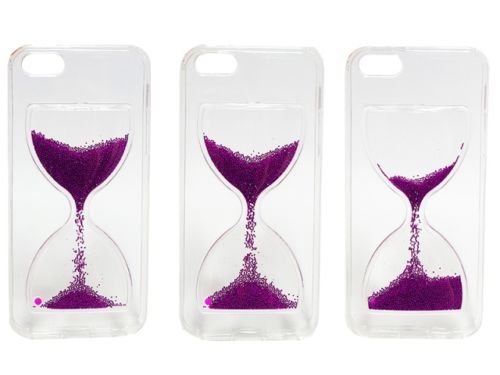 "FUN CASE Stundenglas für Apple iPhone 6 4,7"" Apple iPhone 6S Handy Cover Hülle Case Glitzer Sterne Flüssig Sternenstaub Hard Case (violet) violet"