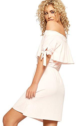 WEARALL Damen Bardot Gestuft Mini Kleid Top Damen Weg Schulter Tie Hülle Bodycon - 36-42 Nude