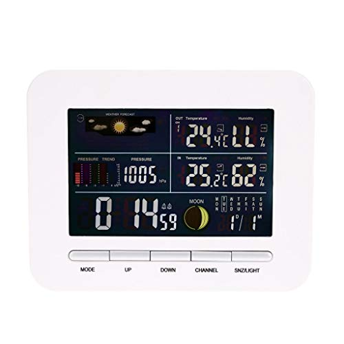 King Boutiques Weather Clock Digital Hygrometer Thermometer Multifunktions-Temperatur-Feuchtemessgerät Funkwetterstation Indoor Outdoor Tester Haushaltsgegenstände