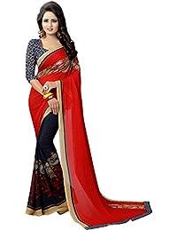 Harikrishnavilla Women's Georgette Saree With Blouse Piece (Br Partli Red, Free Size)