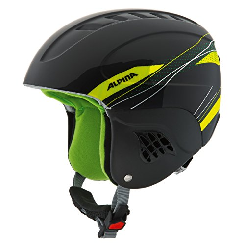 ALPINA Kinder Skihelm Carat, Black-Green, 51-55 cm