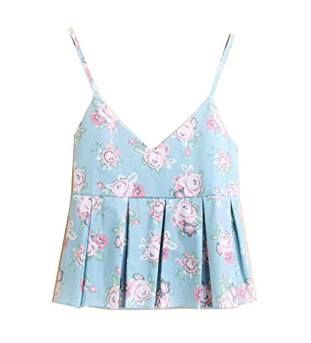 Cheerlife Damen Blumenmuster Trägershirts Baumwolle V-Ausschnitt Sommer Strap Top Shirt Weste Muster 4