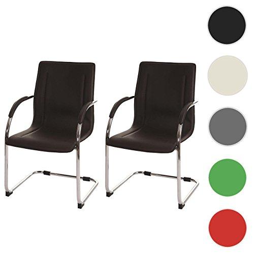 2x Konferenzstuhl Samara, Besucherstuhl Freischwinger, PVC ~ braun