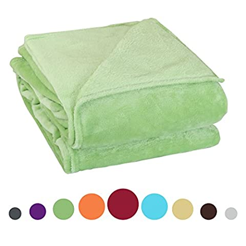 sourcingmap® 260 Grams Super Soft Warm Rug Luxury plush Fleece Throw Blanket, Suitable for Chair or Bed, Machine Washable,Lime Green, 200 x 230 cm (78