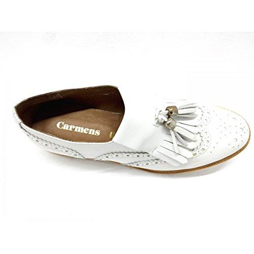 CARMENS 39094 Inglesine Francesine Slip On Vera Pelle Bianco Scarpe Donna Bianco