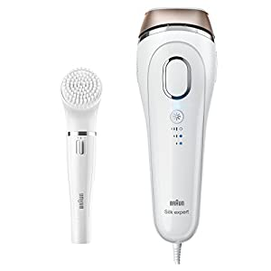 Braun Silk Expert 5 IPL Hair Removal BD 5008, Permanent Visible Hair Removal at Home for Body and Face, Corded for Non-Stop Use + Braun Face Cleansing Brush, White/Bronze