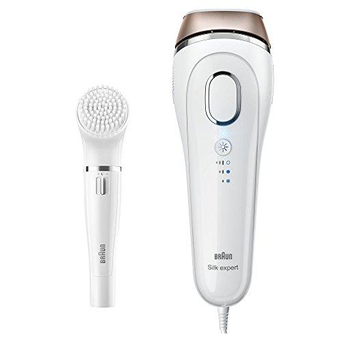 Braun Silk-expert IPL Haarentfernungsgerät BD 5008, dauerhafte Haarentfernung, mit Gesichtsreinigungsbürste, weiß/gold