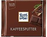 RITTER SPORT Kaffeesplitter (12 x 100 g), Halbbitterschokolade, mit karamellisierten Kaffeesplitter-Stückchen, Tafelschokolade, ideal zum Kaffeeklatsch