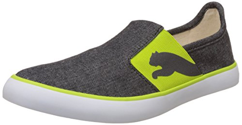 Puma Unisex Lazy Slip On II DP Black and Macaw Green Canvas Sneakers - 9 UK