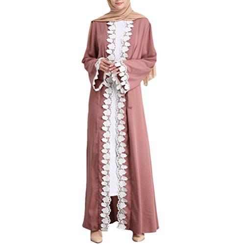 Zhhlinyuan De las Mujeres Sayo Color Puro Abaya Dresses Cordón Labor de Retazos Musulmanes Vestir Largo Kaftan Dubai Turco Vestido Uso Diario