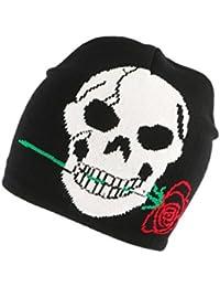 Bonnet Biker Noir avec rose - Mixte