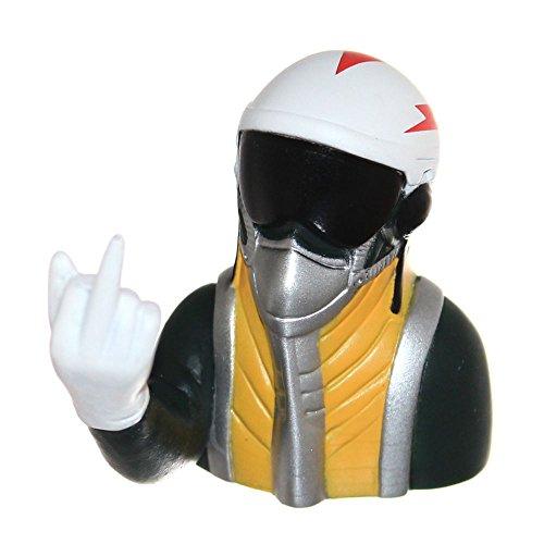 Joy-Button 1x Jet Pilot Büste mit Handzeichen für Modell Strahltriebwerk-Flugzeug 1/8 Pilot Figur mit Stinkefinger 16g Visier Maske Jetpilot 1:8 (Mittelfinger)
