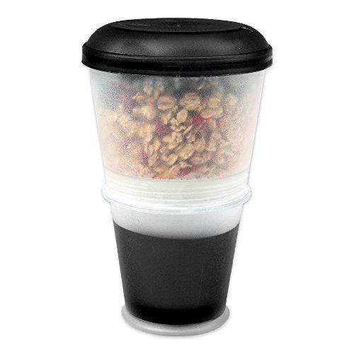 Schramm® Joghurtbecher 7 Farben to go Müsli-to-Go Müslibecher mit integriertem Kühlfach und Löffel Müslischale Joghurt Becher Müslibehälter Joghurtbehälter für unterwegs, Farbe:schwarz