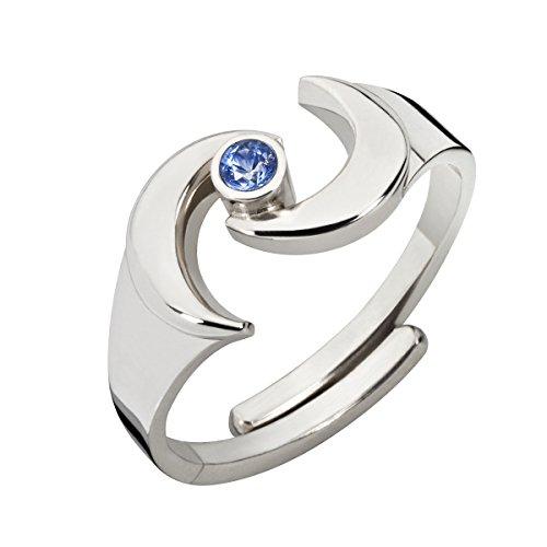 ht RING DER ERDGÖTTIN | mit blauem SAPHIR Edelstein | flexible Fingerschiene | handgearbeiteter 925 Silberschmuck für Damen o. Herren ()