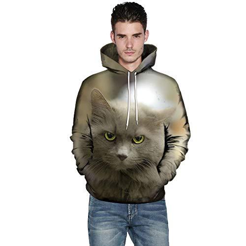 KPILP Kapuzenpullover Männer Übergröße Sweatshirts Frauen warme Mode Oberteile 3D Cat Print Mantel Langarm Paare Hoodies Bluse Shirts Outwear