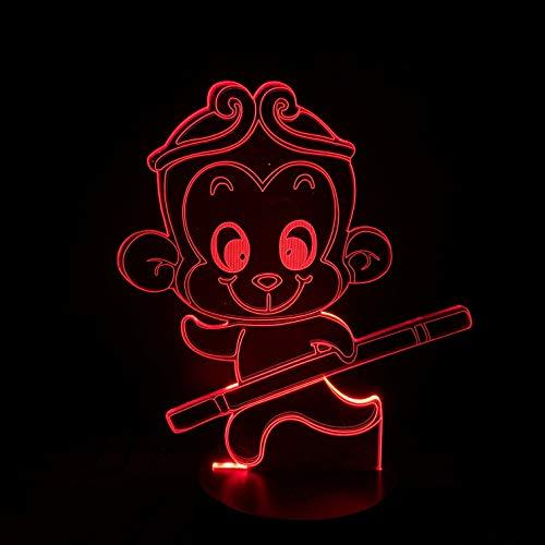 Tianyifengg 3D-LED-7 Farbe-Fernbedienung-Nachtlicht-AFFE Nachtlicht Gold Cargill Kid Cartoon Light Glasses -