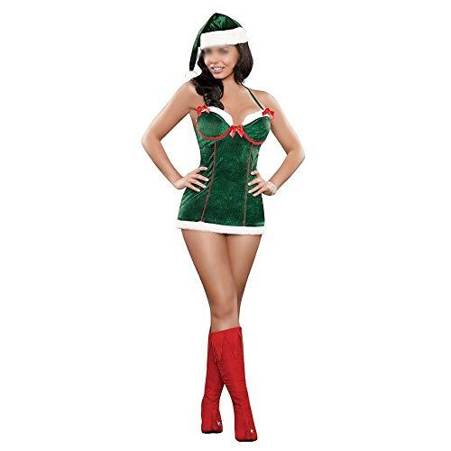 Bademode COS Kleidung Erwachsene weibliche Kleidung grün Weihnachtsbaum Form Christmas Elf Kostüm Halloween Kleid Weihnachtskleid Bikinis (Color : Green, Size : One Size)