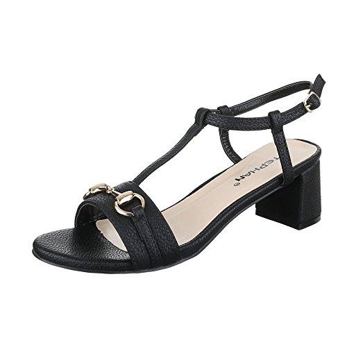 Pantoletten Damen Schuhe Jazz & Modern Pump Moderne Schnalle Ital-Design Sandalen / Sandaletten Schwarz, Gr 41, P-660- (Kostüm Mit Schwarzen Kleidern)