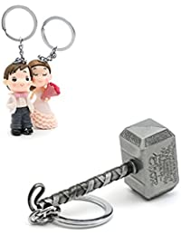 Three Shades Thor Hammer Marvel Avengers Superhero Silver Design Key Chain & Newly Married Couple Keychain (Bike...
