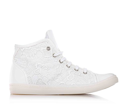 FLORENS - Sneaker bianca stringata, in pizzo decorato, con chiusura a zip laterale, punta e tallone in pelle e suola in gomma, Bambina, Ragazza, Donna-33