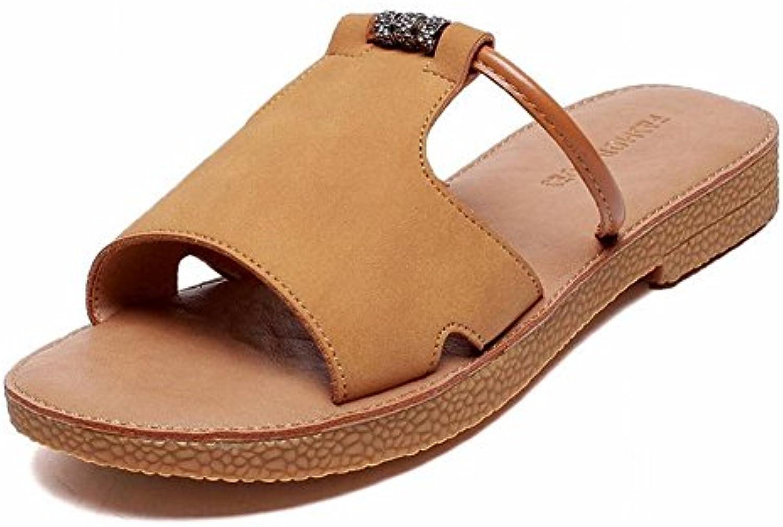 TYERY Sandalias Femeninas de Color Puro Lazy Outfitters Sandalias Slender Toe, Camello, 35