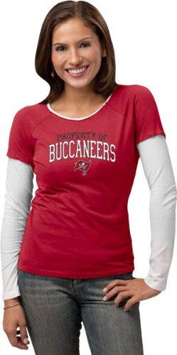 Tampa Bay Buccaneers -Red- Women's Logo Property Too Long Sleeve Layered Tissue Tee - Small -