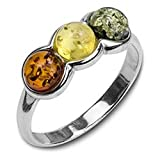 Multicolor Amber Sterling Silver Three Round Ring Sizes J, L, N, P, Q, S, T, V