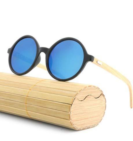 WENZHEN Runde Sonnenbrille mit Holzrahmen, Dodger blau