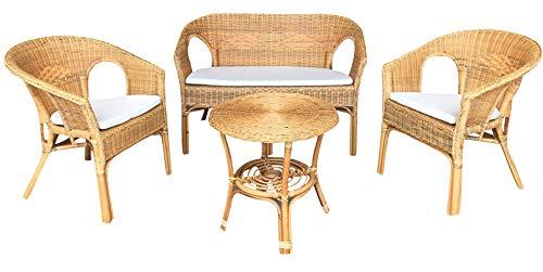 Ok affarefatto zimbardi costanza salotto completo in vimini bambù rattan e giunco naturale con 1 divanetto 2 poltrone 1 tavolino kelec naturale con cuscini in omaggio