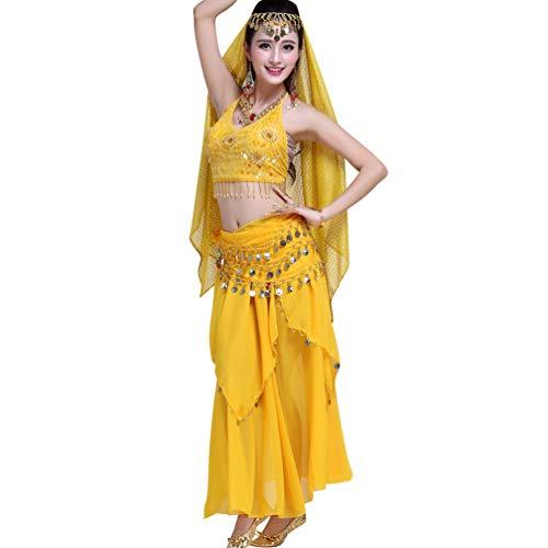 TianBin Damen Indien Bauchtanz Kostüme Komfort Chiffon Tanzkostüm Lange Tanzrock mit Pailletten (Gelb#5, One Size)