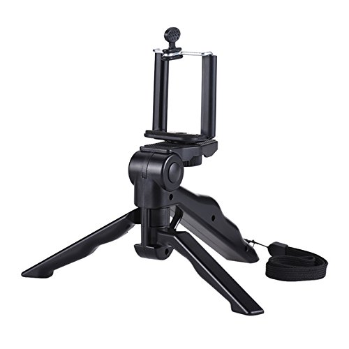 black: Andoer Mini Tripod Stand Support Holder Hand Grip Stabilizer with Smartphone Clip Bracket for iPhone for Samsung Galaxy