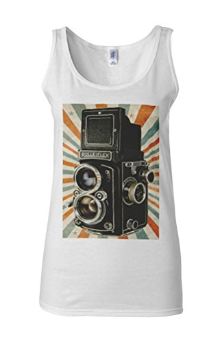 Retro Camera 8 mm Photography Novelty White Femme Women Tricot de Corps Tank Top Vest **Blanc