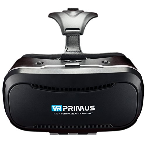 VR Brille VR-Primus VX3 | VR-Headset für Smartphone \'s z.B. Android Handy 's,iPhone,iOS,HTC,Sony,LG,Huawei,Samsung Galaxy,7,8,9 | Einstellbar,QR Codes,3D,Google Cardboard App | Neu: mit Steuerknopf