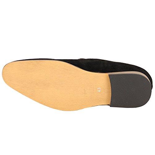 Hommes Mocassins Cuir Suédé Look Chaussures Bateau À Enfiler Italian Gland Habillé Mode Neuve Noir - GH3083
