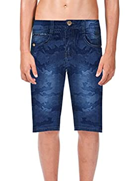 ZipZappa Niño Pantalones Cortos Estampado Militar, Verano, Vaqueros Azul