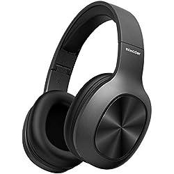 Mixcder Casque Bluetooth Circum avec Microphone Intégré Support TF SD Carte - Lecteur MP3, Over-ear Écouteurs Hi-Fi Stéréo Auriculaire sans Fil Pliable Basse Impressionnante, Ultra-léger - Noir