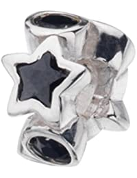 Virtue Silver Black Cubic Zircone Star & Circle Bead
