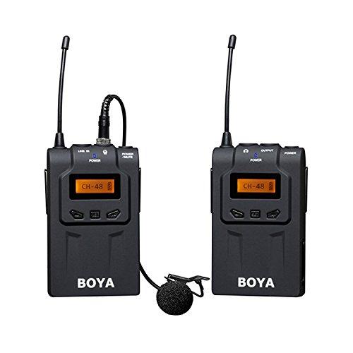 Selens BY-WM6UHF Microphone cravate sans fil omnidirectionnel 100m de distance 48canaux plus de 6heures de fonctionnement continu pour ENG, EFP, DV, DSLR vidéo, appareil photo