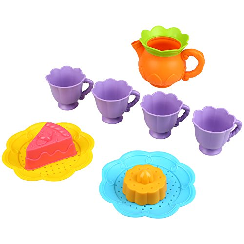 Peradix Toys Tea Set Play Kitchen Accessories for Toddlers Girls Boys Afternoon Tea Party Time Pretend Play Game Water Bathtime with Net Storage Bag