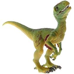 D DOLITY Estatuilla de Animal en Miniatura Figura de Dinosaurio Realista 25 Especies Juguete Eduativo de Historia Prehistórica - velociraptor gris