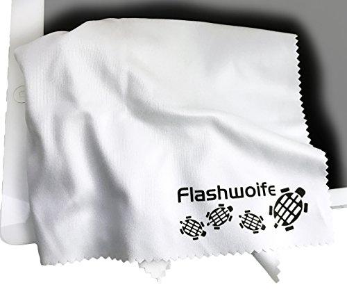 Extra feines Micro-faser (Nano-faser) Reinigungstuch 30x30 cm in weiß zur schonenden Reinigung von Kamera, Objektiv, Filter, Brille, Display, Kameralinse, Kamerafilter, Brille, Skibrille, CD/DVD/Blu-ray, Handy- und Tabletdisplay, Bildschirm uvm. universales Microfasertuch Flashwoife Turtle-RT30W
